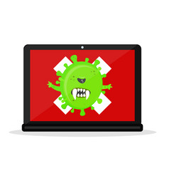 Angry virus in the laptop computer vector