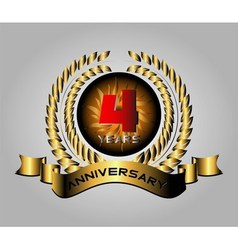 Anniversary with laurel wreath 4 year vector