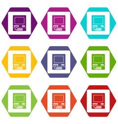 atm bank cash machine icon set color hexahedron vector image