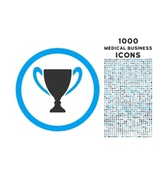 Award Cup Rounded Icon with 1000 Bonus Icons vector image