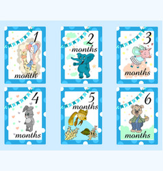Baby months cards for boy set cute stickers vector
