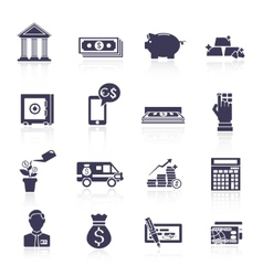 Bank service icons black set vector