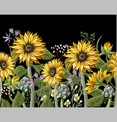 Border with sunflowers bouquetartichoke and wild vector