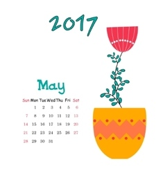calendar for May 2017 with vase vector image