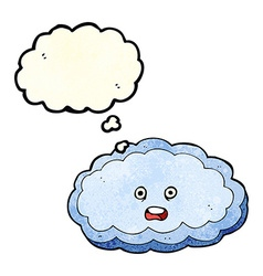 Cartoon decorative cloud with thought bubble vector