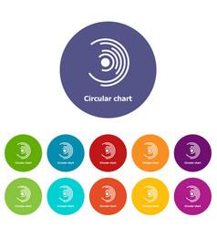 Circular chart icons set color vector
