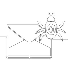 Continuous one line drawing spam icon concept vector