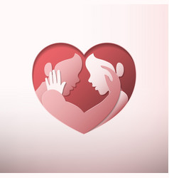 couple caressing in heart shaped frame paper art vector image