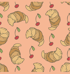 Croissants and cherry vector