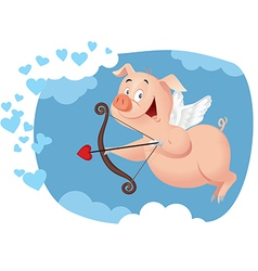 Cupid Pig Funny Cartoon vector image