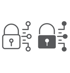 cyber security line and glyph icon protection vector image