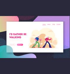 Elderly people nordic walking website landing page vector