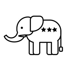 Elephant head line icon sign vector