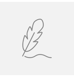 Feather line icon vector