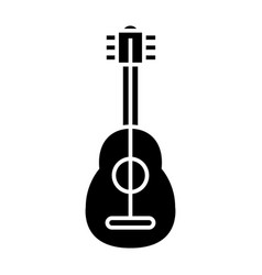 Flamenco guitar icon black vector