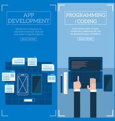 Flat software apps development concept set vector