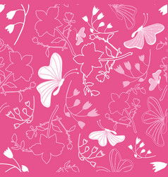 floral white butterflies background pattern vector image