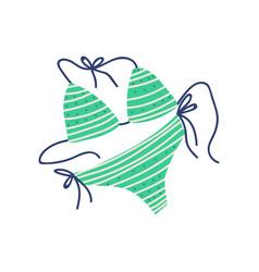 green bikini female trendy swimwear summer vector image