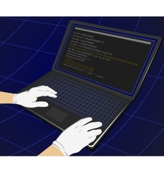 Hacker writing programming code on laptop vector