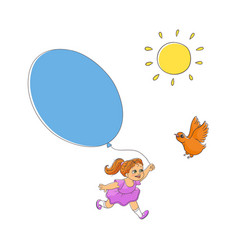 hand-drawn sun bird and little girl with balloon vector image