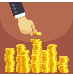 Hand put gold coins to stack business vector image vector image