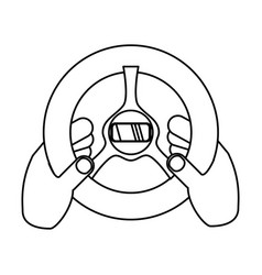 hand with steering wheel vector image