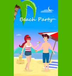 happy family at beach party honeymoon travel vector image