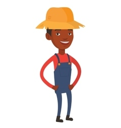 Happy farmer in summer hat vector