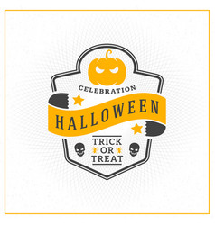 happy halloween badge sticker label design vector image
