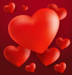 Hearts in red background3 vector