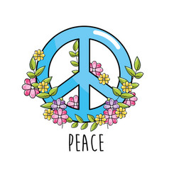 Hippie emblem symbol of peace and love vector