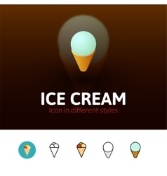 Ice cream icon in different style vector