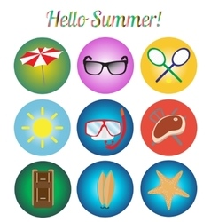 icons set Summer retro vector image