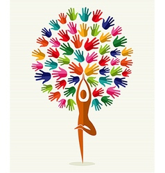 India yoga hands tree vector