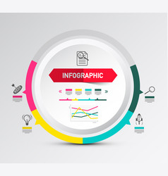 infographic layout with circle paper label and vector image