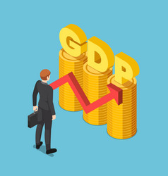 Isometric businessman with gdp word on coin stack vector