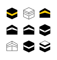Kaaba in mecca city set icons simple style vector