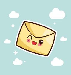 kawaii message envelope image vector image