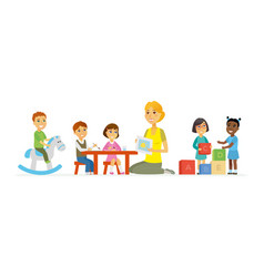 Kindergarten - cartoon people characters isolated vector