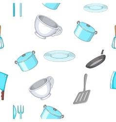 Kitchenware pattern cartoon style vector