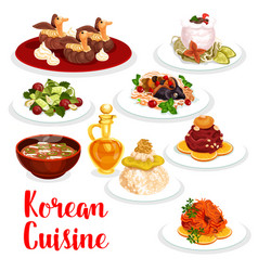 Korean cuisine restaurant lunch icon of asian food vector