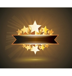 label sign with gold stars and place for your text vector image