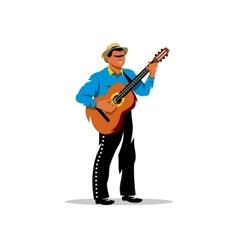 Latino musician with guitar Cartoon vector image