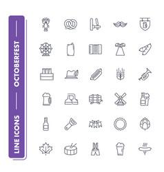 line icons set octoberfest vector image