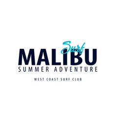 Malibu surfing emblem or logo vector