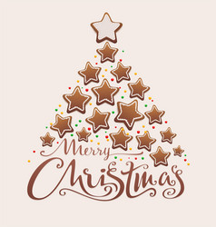 merry christmas gingerbread tree lettering text vector image