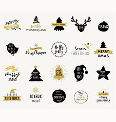 merry christmas hand drawn and icons vector image