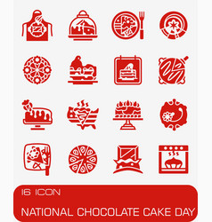 National chocolate cake day icon set vector