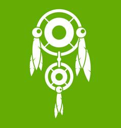 Native american dreamcatcher icon green vector