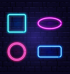 neon banners set color neon frames on brick wall vector image